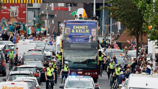Supporters line the streets to welcome Olympic gold medal winning boxer Kellie Harrington home to Portland Row in Dublin 1 on Tuesday. Photograph: Alan Betson/The Irish Times