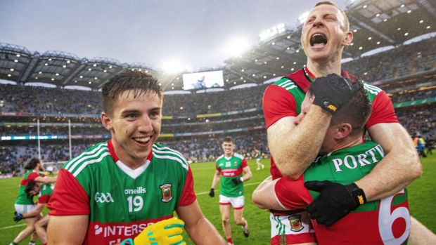 Mayo's Colm Boyle celebrates at the final whistle with Stephen Coen. Photograph: Tommy Dickson/Inpho
