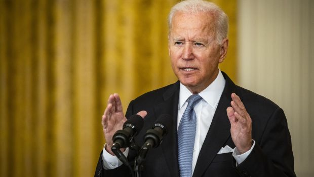 US president Joe Biden put the blame for the chaos engulfing Kabul on the shoulders of the deposed government and its ineffectual security forces. Photograph: Samuel Corum/Bloomberg