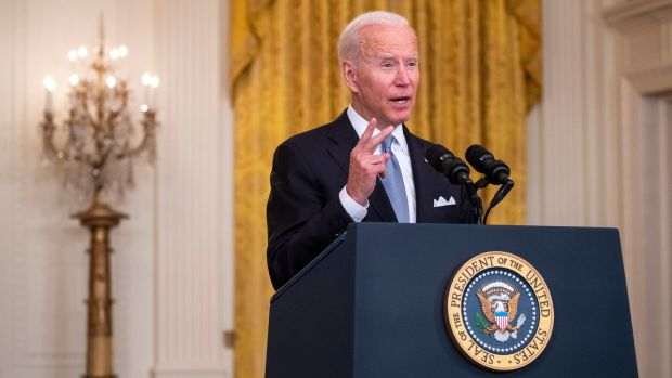 US president Joe Biden defends his actions on Afghanistan during a speech in the East Room of the White House in Washington DC. Photograph: EPA