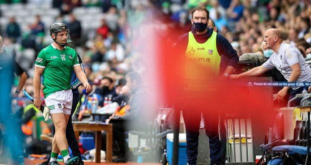 Limerick's Peter Casey walks off after being sent off in the All-Ireland semi-final against Waterford at Croke Park. Photograph: Tommy Dickson/Inpho