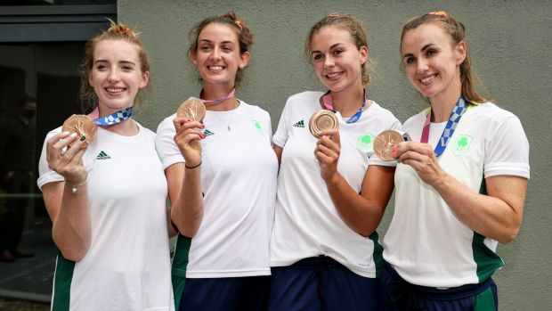 Ireland's Olympian rowers Emily Hegarty, Fiona Murtagh, Eimear Lambe and Aifric Keogh were congratulated by the Minister of Sport at the homecoming in the National Rowing Centre, Farran, Co Cork. File photograph: Inpho