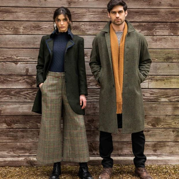 Left: green Poldark style jacket (€ 320), Enya tweed culottes (€ 175).  Right: Donegal tweed coat (€ 450)