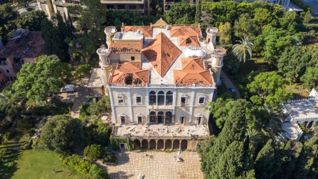 An aerial view of Sursock Palace in Beirut after the August 2020 explosion. Photograph: Haytham Al Achkar / Getty