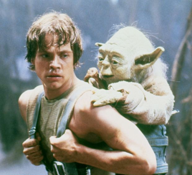 Actor Mark Hamill on the set of Star Wars: Episode V – The Empire Strikes Back with Yoda. Photograph: Lucasfilm/Sunset Boulevard/Corbis via Getty