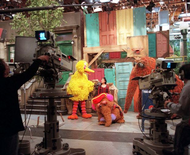On the set of Sesame Street in 1995. Photograph: Sara Krulwich/New York Times
