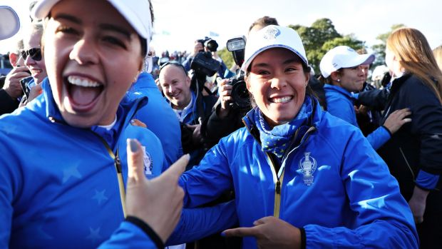 Celine Boutier (right) and Georgia Hall celebrate 2019 in Gleneagles.  Photo: Jamie Squire / Getty Images