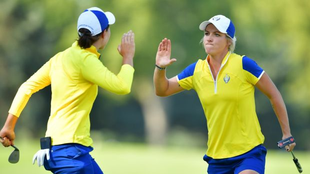 Mel Reid (right) celebrates with Carlota Ciganda at the 2017 Solheim Cup in Des Moines.  Photo: Stuart Franklin / Getty Images