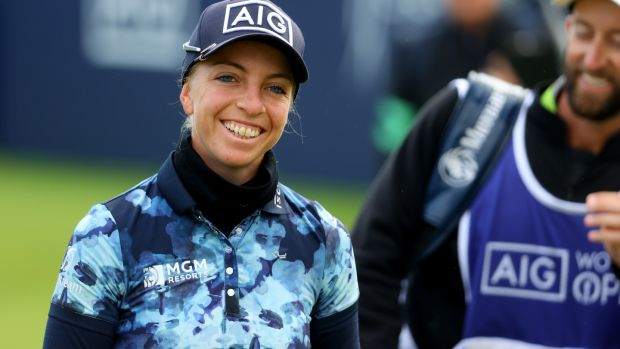 Sophia Popov worked for German television before her brilliant win at the 2020 women's British Open at the Solheim Cup.  Photo: Andrew Redington / Getty Images