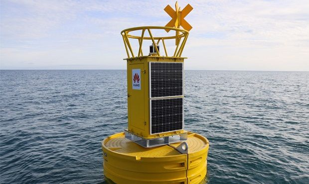 The smart buoy deployed off the south coast of Ireland. Photograph: Huawei