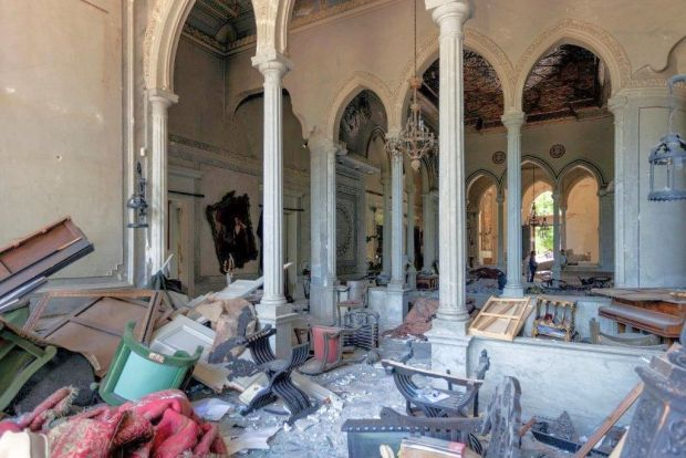 Interior of Sursock Palace, Beirut after the port explosion.  Photography: Ferrante Ferranti
