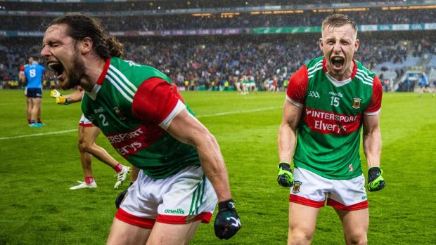 Mayo's Padraig O'Hora and Ryan O'Donoghue after the semi-final win over Dublin. Photograph: James Crombie/Inpho
