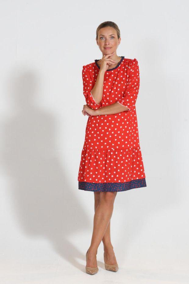 Red and white heart print dress by Heidi Higgins, €235