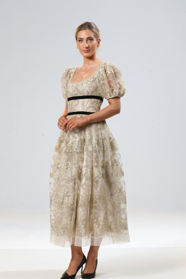 Gold lace dress, €840, by Sarah Murphy