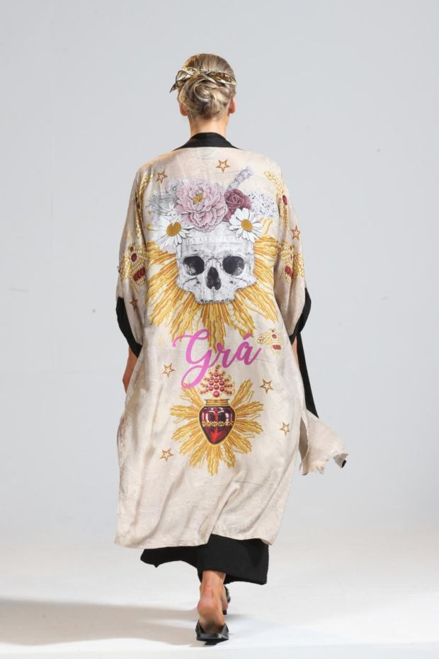 Valentine Parchment Crepe de China embellished cape, €770, from Eadach
