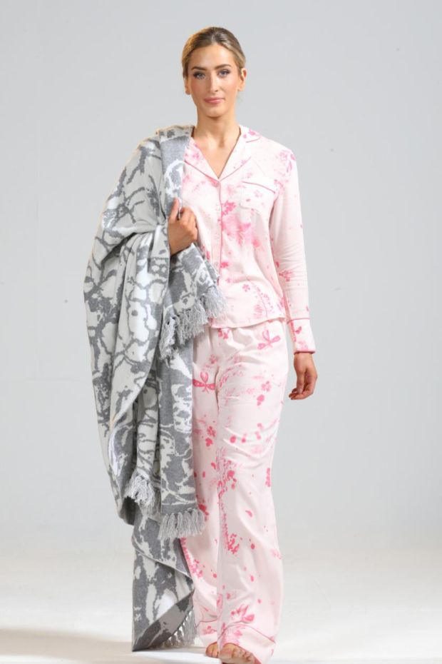 Enchanted forest pyjamas (€98), and ripple throw (€325) by KDK