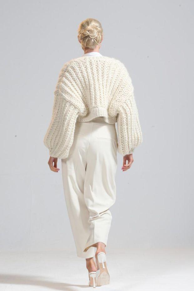 Ivory wool handknit Ballintra cardigan, €425, from Gabrielle Malone