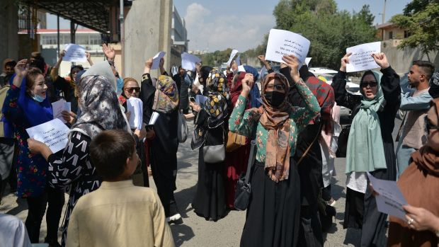 Afghan women take part in a protest march for their rights under the Taliban rule in the downtown area of Kabul. Photograph: Hoshang Hashimi/AFP via Getty