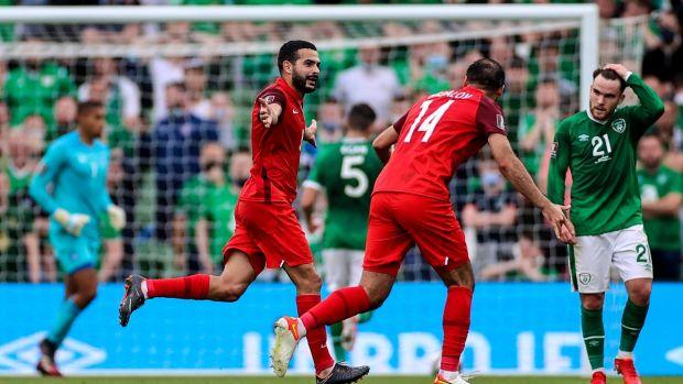 Azerbaijan's Emin Makhmudov celebrates after opening the scoring at the Aviva Stadium. Photograph: James Crombie/Inpho