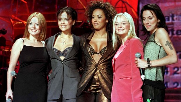 Spice Girls: Geri Halliwell, Victoria Beckham, Melanie Brown (Mel B), Emma Bunton and Melanie Chisholm (Mel C) in April 1998. Photograph: Ian Hodgson/Reuters