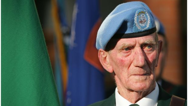 Sean Maher, who served with the UN in the Congo, in November 2008 at the UN Memorial Garden Arbour House for the annual wreath-laying ceremony organised by the Irish United Nations Veterans Association. Photograph: Bryan O'Brien