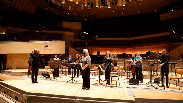 Composer Ann Cleare enjoys an encore after a performance of her work at the Berlin Philharmonic last weekend.  Photography: Astrid Ackermann