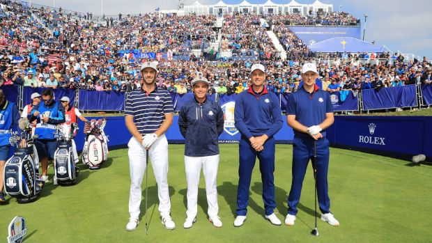Americans Dustin Johnson and Rickie Fowler pose with European duo Justin Rose and Henrik Stenson before their foursome match at the 2018 Ryder Cup at Golf National in Paris.  Photograph: Andrew Redington / Getty Images