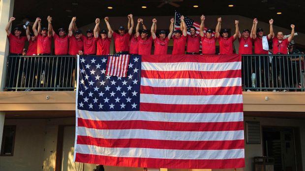 El equipo de Estados Unidos celebra su victoria sobre Europa en Valhalla en 2008. Foto: Roy Vieira / Penn