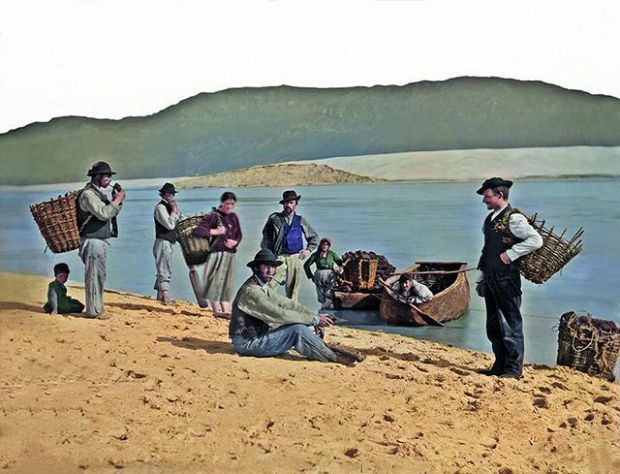 Local fishermen and boys from Loughros Point, Ardara, Co Donegal c.1890s.  Photograph: The Color of Ireland