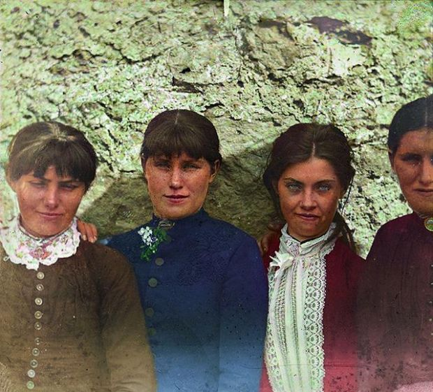The O'Halloran sisters - Annie, Honoria and Sarah - with an unidentified fourth daughter at Bodyke, Co Clare in June 1887. Photograph: National Library of Ireland, Old Ireland in color 2