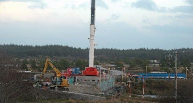 Work on the ESB-Bord na Móna wind farm project near the Oweninny river. Photograph: Conor McKeown
