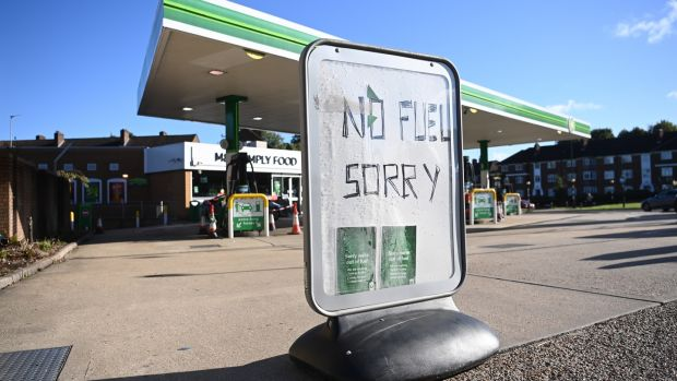 A BP garage in London that had to close after running out of fuel. Photograph: Neil Hall/EPA