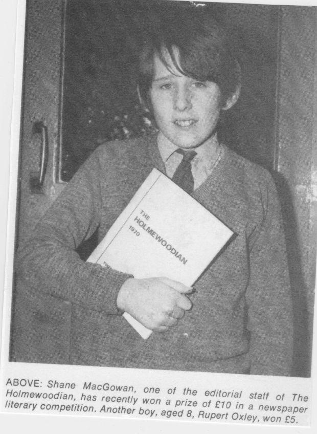 Shane MacGowan with The Holmewoodian, his prep school magazine