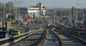 The Luas line in the Naas Road. Photograph: Bryan O'Brien