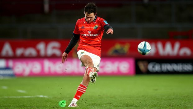 Joey Carbery converts during Munster's URC clash against the Stormers at Thomond Park. Photograph: Ryan Byrne/Inpho