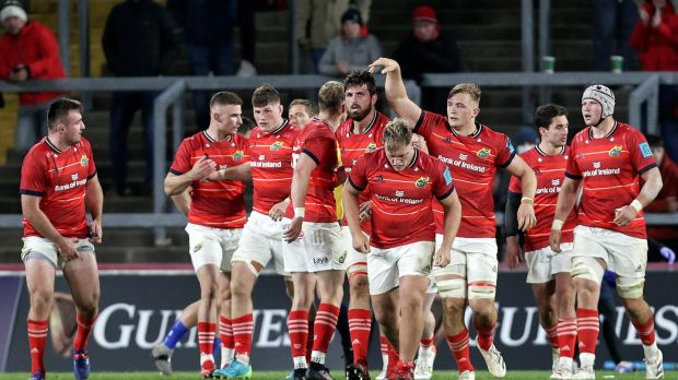 Munster celebrate a Jean Kleyn try against the Stormers. Photograph: Laszlo Geczo/Inpho