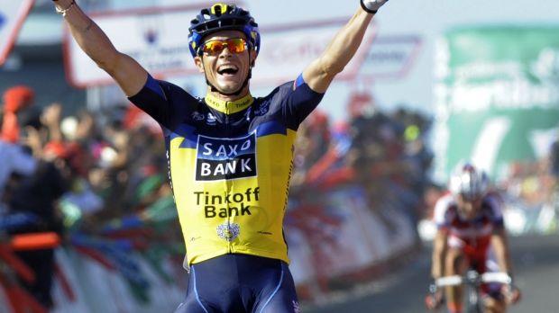 Roche celebrates his La Vuelta stage victory in 2013. Photo: Miguel Riopa/AFP via Getty Images