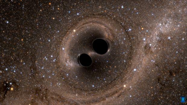 Two black holes merge into one. Illustration courtesy of SXS/black-holes.org