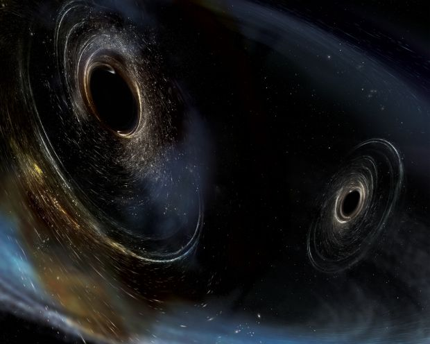 An artist's conception of the merging of two black holes similar to those detected by Ligo in 2015. Illustration courtesy of Aurore Simonnet/Sonoma State/Caltech/MIT/Ligo