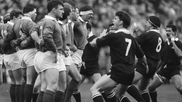 Ireland captain Willie Anderson faces up to New Zealand captain Wayne Shelford as the All Blacks preform The Haka in November 1989. Photograph: Billy Stickland/Inpho