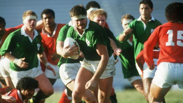 Willie Anderson runs with the ball during Ireland's game against Tonga at the 1987 Rugby World Cup. Photograph: Billy Stickland/Inpho
