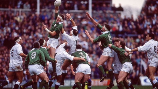 Ireland's Neil Francis and Willie Anderson with Wade Dooley of England during a Five Nations game at Twickenham. Photograph: Billy Stickland/Inpho