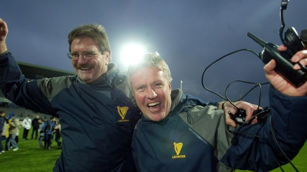 Assistant coach Willie Anderson and Leinster coach Matt Williams in 2002. Photograph: Billy Stickland/Inpho
