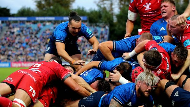 Leinster's Rónan Kelleher scores a try at the back of a maul. Photo: Ryan Byrne/Inpho