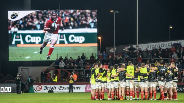 A tribute on the big screen before the game on the occasion of the fifth anniversary of Anthony 'Axel' Foley's passing. Photo: James Crombie/Inpho